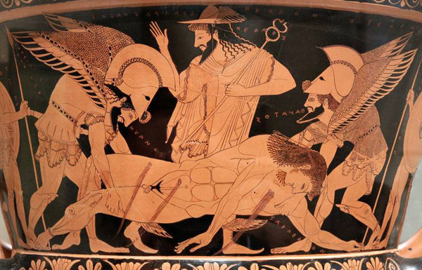 Гермес и Гипнос и Танатос с телом Сарпедона. мастер Евфроний. 6 век до н.э