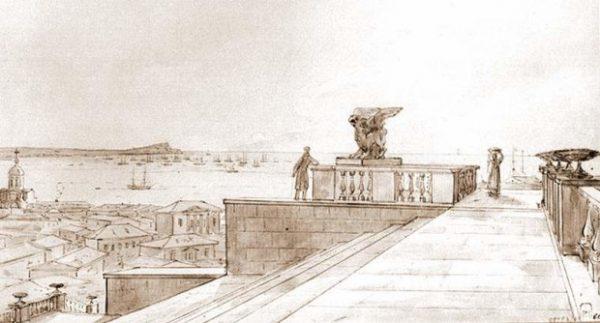 митридатская-лестница-. Н.Г.Чернецов. 1836 г.