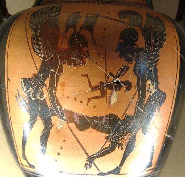 500 г до н.э.-выносят раненого в бою sarpedonte
