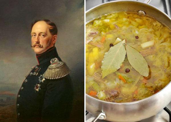 Николай I (1796-1855) и любимый им капустный суп (щи)