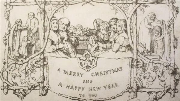 Первая английская рождественская открытка
