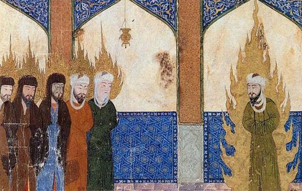 Средневековый персидский манускрипт, изображающий Мухаммеда, Авраама, Моисея и Иисуса в совместной молитве.