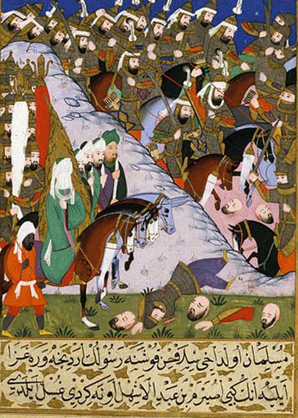 Пророк Мухаммад и мусульманская армия в битве при Ухуде