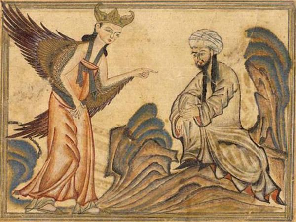 1307 год Изображение Мухаммеда, получающего свое первое откровение от ангела Гавриила.