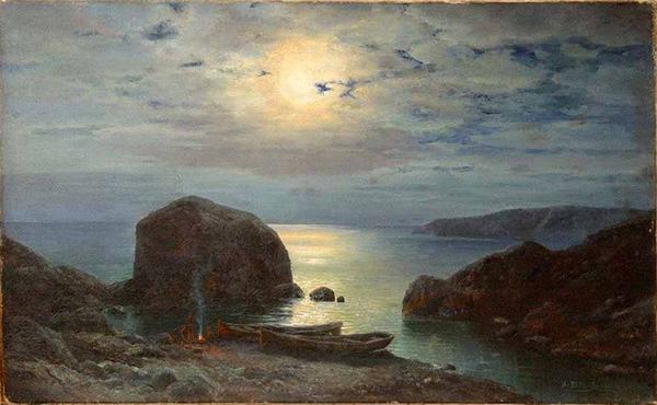 вельц-Ночь на берегу моря. Рыбаки у костра 1913г.