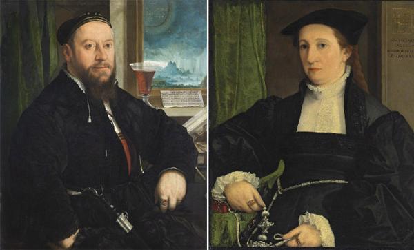 Маттеус Шварц. Картина Христофа Амбергера. 1542 год. и супруга Шварца