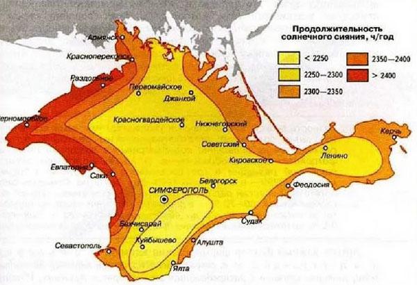 Продолжительность солнечного сияния в Крыму