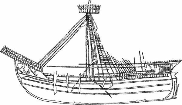 лат. парусный корабль 15 века в башне 5 каламита