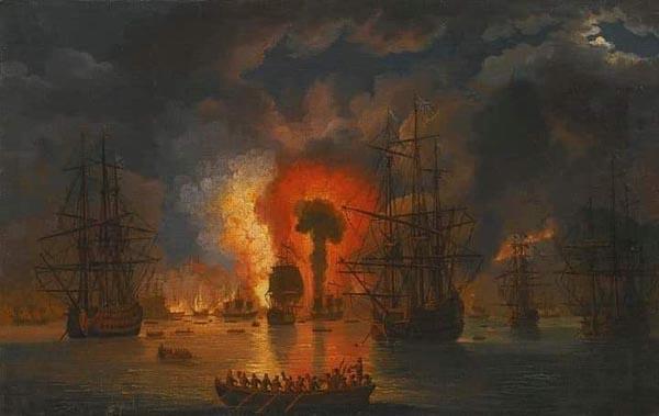 Чесмен. бой- взрыв турецкого корабля -Якоба Филиппа Гаккерта