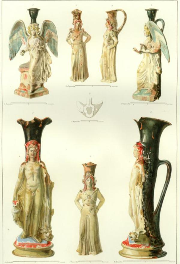 полихромные сосуды из женского погребения, открытого в Фанагории в 1852 г.