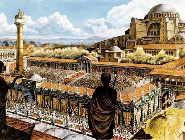 византия-Августейон - публичная площадь с колонной Юстиниана - 532 год